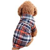 Mascota Camisa de Tela Escocesa Casual con Algodón Para Perro y Gato (S, naranja)