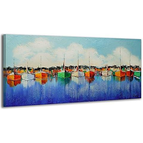 100% LABOR A MANO + certificado / Embarcadero / 115x50 cm / El cuadro dibujado con pinturas acrílicas / cuadros sobre el lienzo con bastidor de madera / cuadro dibujado a mano / montaje cómodo sobre la pared / Arte contemporáneo