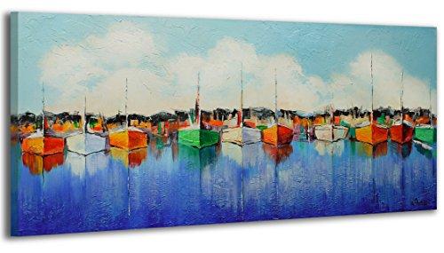 100-LABOR-A-MANO-certificado-Embarcadero-115×50-cm-El-cuadro-dibujado-con-pinturas-acrlicas-cuadros-sobre-el-lienzo-con-bastidor-de-madera-cuadro-dibujado-a-mano-montaje-cmodo-sobre-la-pared-Arte-cont