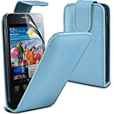 ( Baby Blue ) Samsung Galaxy S2 i9100 Protective Faux Leder Flip Case Hülle & LCD-Display Schutzfolie by ONX3
