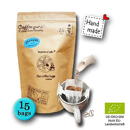Life is You! Coffee Bags   (BIO) Kaffee Chiapas aus den Berghängen der Sierra Madre de Chiapas in Mexiko   15 Coffee Bags (für Becher)   in verschließbarer Zipptüte - 100% Arabica - frisch & schonend handgerösteter, milder Filterkaffee