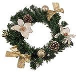 Clever Creations - Ghirlanda Natalizia con Stella di Natale Bianca, pigne Coperte di Neve, Nastri Dorati e Decorazioni - per Uso in Ambiente Interno/Esterno - 25,4 x 25,4 x 7,6 cm