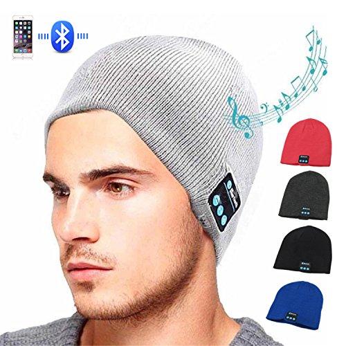 Hmilydyk Winter Bonnet Bluetooth V4.1sans fil Knit Musique Chapeau amovible et micro Cap Coupe haut-parleurs stéréo intégrés pour sports de plein air, aux cadeaux de Noël Tech pour homme femme, gris