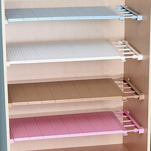 Zhuotop Einstellbare Lagerregal Badregal ohne Bohren für Kleiderschrank Aufbewahrung Küche Badezimmer Separator Kunststoff braun, 38 cm