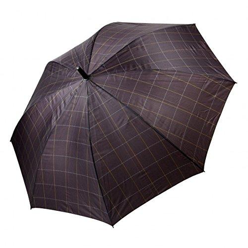 Regenschirm groß Herren Automatik Holzgriff Karo Perletti, Farbvariante:braun