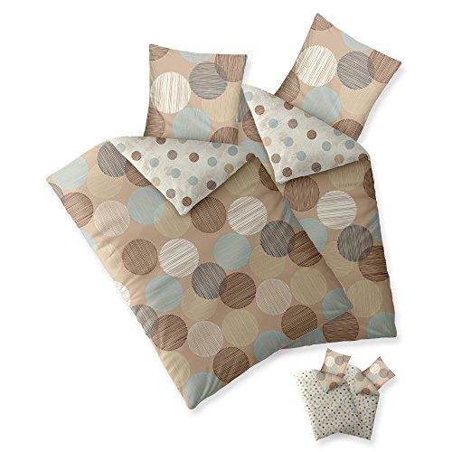 Bettwäsche 135 x 200 cm 100% Baumwolle   SPARSET 4 tlg.   verschiedene Größen   im Wendedesign   Trend Fara Punkte gestreift natur beige blau braun   für alle Jahreszeiten geeignet   aqua-textil 11840