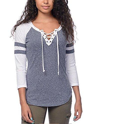 LnLyin Grau Kordelzug Seils V Kragen Schultern Hülsen T Shirt Pullover Winter Frühling Herbst Tops (Heels Kordelzug)