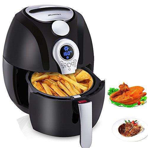 Heißluftfritteuse, Blusmart Power frittieren ohne ÖL mit Temperatur- und Zeitkontrolle auf LED Display 3.4Qt/3.2L 1400W Frittierkorb & Rezeptbuch