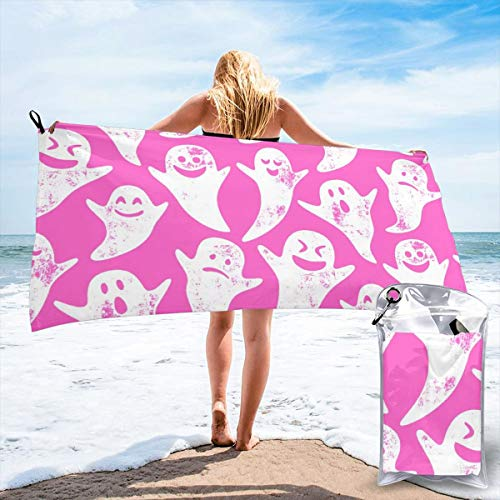 Fun Life Art Fast Quick Dry Towel,Sports & Beach Towel.Ghost On Hot Pink - Halloween Suitable for Camping, Gym, Yoga,Swimming,Travel,Hiking,Backpacking. (Halloween On Ice)
