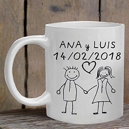 Calledelregalo Regalo para tu Novio, Novia, Marido o Mujer: Taza 'Pareja' Personalizada con el Texto Que tú Quieras