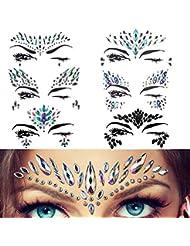 Strass Autocollant Visage Tatouage Glitter Scintillement Bijoux De Corps Pour Des Festivals 6 Pièces