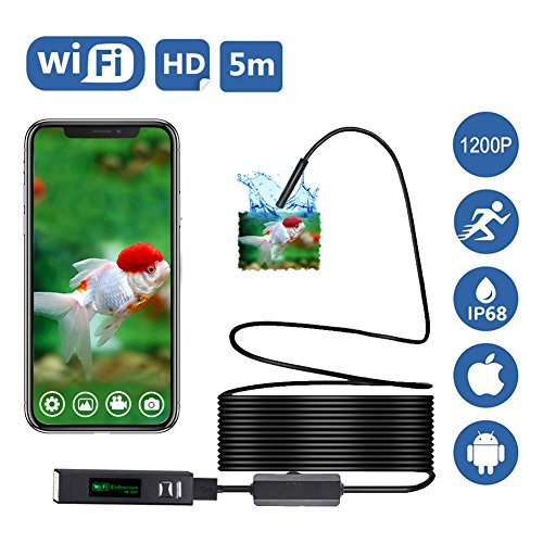 WiFi Endoskop, Genmer Drahtlose Inspektionskamera, 2.0 Megapixel 1200P HD Endoskopkamera, 5m starr Draht 8 LED IP68 Wasserdichte Sanitär Schlange Kamera für IOS Android Smartphone