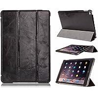 FUTLEX - Custodia smart per iPad Air 2 in vera pelle e in stile vintage - Nero - Design esclusivo - Posizioni di supporto multiple - Funzione Standby/Riattiva automatica - Artigianale - 100% vera pelle - Massima