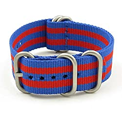 StrapsCo 16mm Red / Blue Matte Silver 5-Ring G10 Ballistic Nylon Nato Zulu Watch Strap