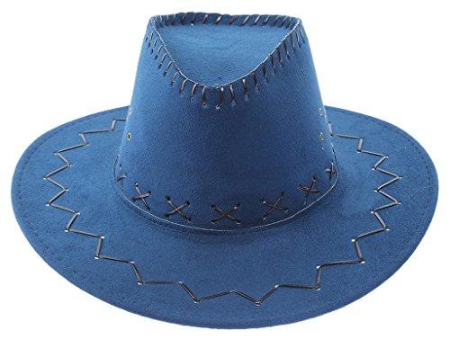 Bigood Enfant Chapeau Western Cowboy Soleil Unisexe Rétro Large Bord Bleu