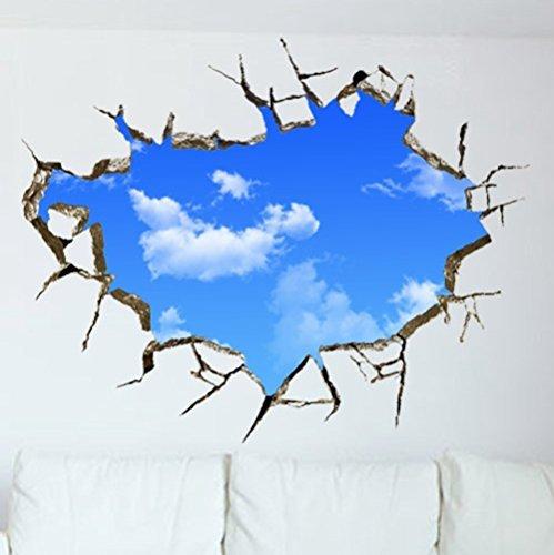 Decorator World Wall Map (U-Shark 3D Self-adhesive Removable Break Through the Wall Vinyl Wall Sticker/Mural Art Decals Decorator (Blue Sky(27.6 X 35.4/ 70cm90cm)) by U-Shark)