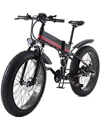 """HWOEK Bicicleta Eléctrica Plegables, 26"""" Adulto Bicicleta Eléctrica de Viaje Nieve/Montaña 4.0 Neumáticos Gruesos con Asiento Trasero1000W Motor sin Escobillas"""