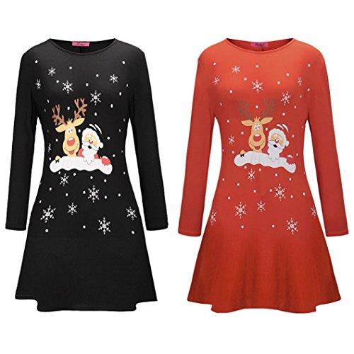 Overdose Women Christmas Cartoon Deer Santa Claus Printed Long Sleeve Mini Dress