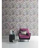 Arthouse Opera Curious Multi Wallpaper 694000 - Bookcase Book Shelf Love Hearts