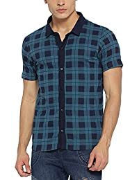Campus Sutra Men's Plain Regular Fit Casual Shirt (AZ18SHRT_PNHH2C_M_PLN_BUGR_AZ_BUGR_XL)
