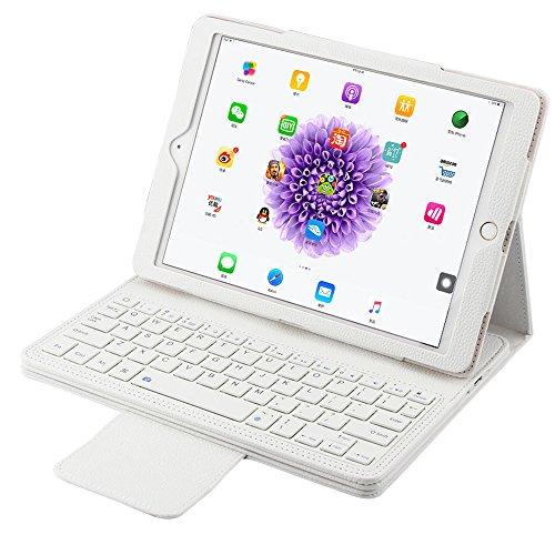 """iPad Pro 9.7"""" Wireless Bluetooth Tastatur mit Hülle, Olycism Ledertasche mit trennbarer Tastatur für iPad Pro 9.7""""(Weiß)"""