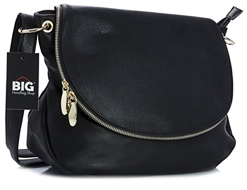 Big Handbag Shop in pelle sintetica con cerniera rotondo Secchio Croce Boby Borsa a tracolla, nero (Black (KL114)), Taglia unica