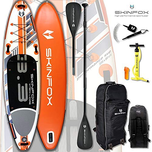 SKINFOX Turtle aufblasbar SUP Board Paddelboard Stand Up NEUESTE SUP Generation 4 TECH L-CORE (335x80x15/Tragkraft 180 kg) ALU-Set orange TESTSIEGER 18 (Board,Bag,Pumpe,ALU SUP-/Kayak Paddel+Leash)