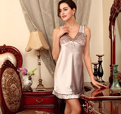 LJ&L Frau Sommer Dessous sexy V-Ausschnitt hängen Röcke Nachtwäsche weibliche Seidenpyjamas / Badrock,gray,M Gray