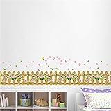 ELGDX Wandaufkleber Cartoon Gartenzaun Blume Schmetterling DIY Aufkleber Fensterglas Wanddekor Dekoration Kinder Kinderzimmer Dekor