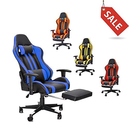 Soontrans Racing Gaming Stuhl mit Fußstützen Kunstleder Zocker Stuhl Ergonomischer Chefsessel mit Höhenverstellbare Armlehnen, belastbar bis 150kg Körpergröße bis 190cm, 175° Neigbar (Blau)