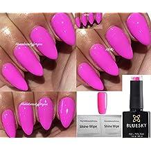 Vernis à ongles gel fluo Bluesky , Couleur 21 Bubblegum pink mauve ,  Séchage sous lampe