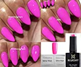 Bluesky Nagellack-Gel UV-LED-Soak Off, Neon 21, Blütenblatt, Bubblegum Pink Malve, 10 ml plus 2 LuvliNail Glanz-Tücher
