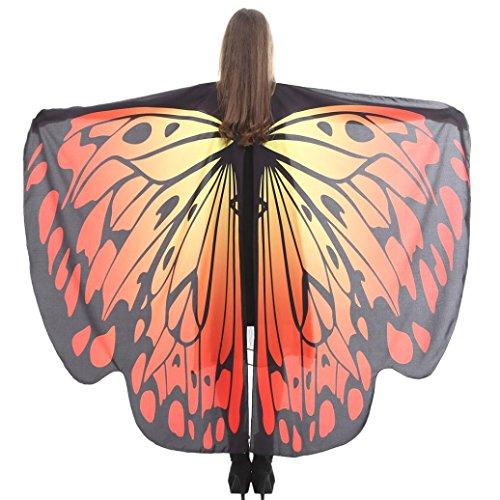 Schmetterling Kostüm, HLHN Damen Schmetterling Flügel Umhang Kostüm Zubehör für Show / Daily / Party (Orange A, 168 x - Orange Schmetterling Kostüm