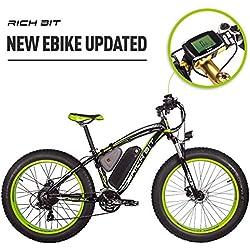 RICH BIT RT022 E-Bike bicicleta de eléctrica 26 pulgadas 4.0 Fat tire de montaña bicicleta eléctrica bicicleta ebike Motor de alta potencia de 1000 W 48 V * 17 Ah recargable de litio de alta capacida