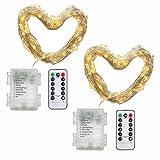 2 Stück 10M 100 Lichter, Micro Lichterkette Batteriebetrieben mit Silberdraht, IP 65 Warmweiß - (Timer Funktion)