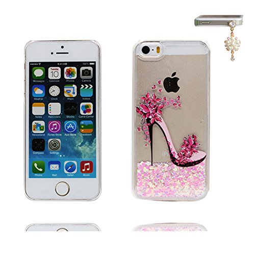 iPhone 5S Custodia, iPhone 5 SE Copertura, rosa Bling liquido fluido trasparente in silicone durevole Case Cartoon 3D Cover & tappi antipolvere - Cartoon Tacchi alti ( Per iPhone 5G 5 ) # 4