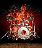 Vlies XXL Poster Fototapete Tapete Flammen Burn brennendes Skelett mit Schlagzeug Material Decor selbstklebend, Größe 100 x 100 cm