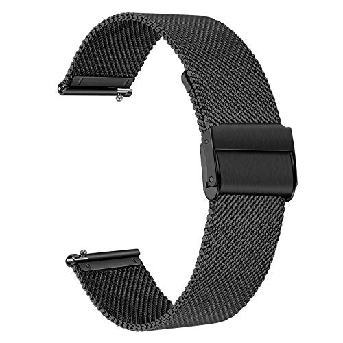 TRUMiRR Ersatz für Samsung Galaxy Watch 42 mm/Galaxy Watch Active/Gear Sport Armband, 20mm Mesh Gewebt Edelstahl Uhrenarmband Metall Schnellwechsel Armband für Garmin Vivoactive 3/3 Music