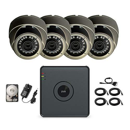 Hikvision TMB CCTV HD System Security 4-Kanal-Digital-Video-Recorder 1080P Ultra HD Lite IP Außen 4CH HD und 4x 2,4 Megapixeln (4 Kameras + 1 TB-Festplatte)
