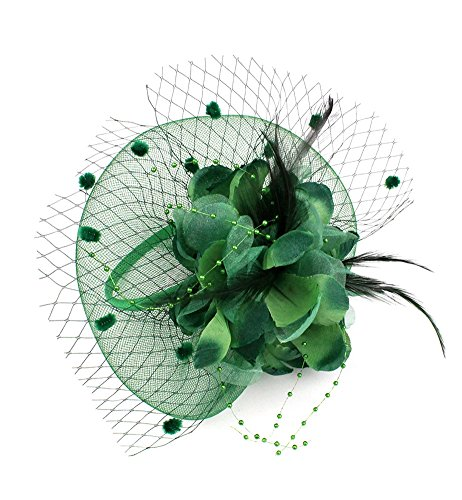 EXCHIC Damen Fascinator Blumen Netz Kopfschmuck Feder Haarschmuck Hochzeit Derby Cocktail Hut (# Dunkelgrün)