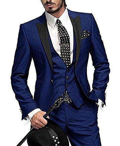 GEORGE BRIDE Herren Anzug 5-Teilig Anzug Sakko,Weste,Anzug Hose,Krawatte,Tasche Platz 002,Königsblau XL