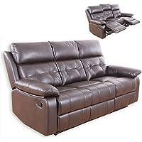 Preisvergleich für ROLLER 3-Sitzer Sofa - Dunkelbraun - Kunstleder - Relaxfunktion
