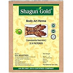 Shagun Gold Body Art Quality Henna Powder/ Triple filtered Lawsonia Inermis 100g