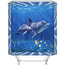 jacktom poliestere impermeabile Bagno muffa tenda con ganci per doccia, Poliestere, 3D Dolphin, B