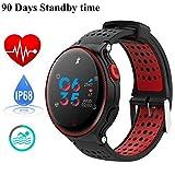Fitness Activity Tracker IP68 Wasserdicht Smart Watch Sport Tracker Gesundheit Wireless Monitor Handgelenkband mit Sleep Monitor und HD Touch Bildschirm Super lange Standby-für iOS/Android, (black-red)
