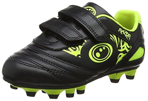 Optimum Boys  Razor Velcro Moulded Stud Football Boots  Black Fluro Yellow  1 UK 33 EU