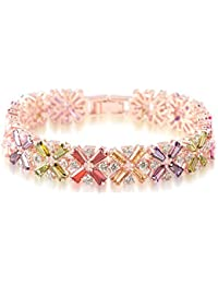 Jewels Galaxy Swiss CZ Collection Copper Charm Bracelet for Women (Gold)(SMNJG-BNN-3005)