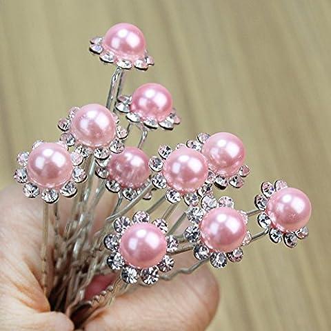 Merssavo Lot de 10 pieces Piques et epingles a cheveux Perles Fleur Cristal Pour Marriage Soiree Anniversaire Rose Pour Vacances Conge Voyage Ete Vacances d'ete