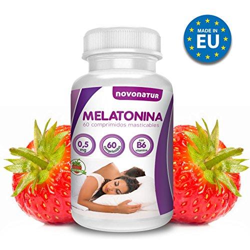 Melatonina 0,5mg con vitamina B6, 60 comprimidos de melatonina masticable sublingual con sabor a fresa, regula el ciclo del sueño. NOVONATUR.