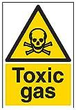 vsafety Signs 6a016au-s gas tóxico advertencia sustancia y químicos señal, autoadhesivos, vertical, 200mm x 300mm, Negro/Amarillo